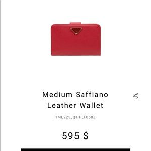 Prada Red Saffiano Wallet
